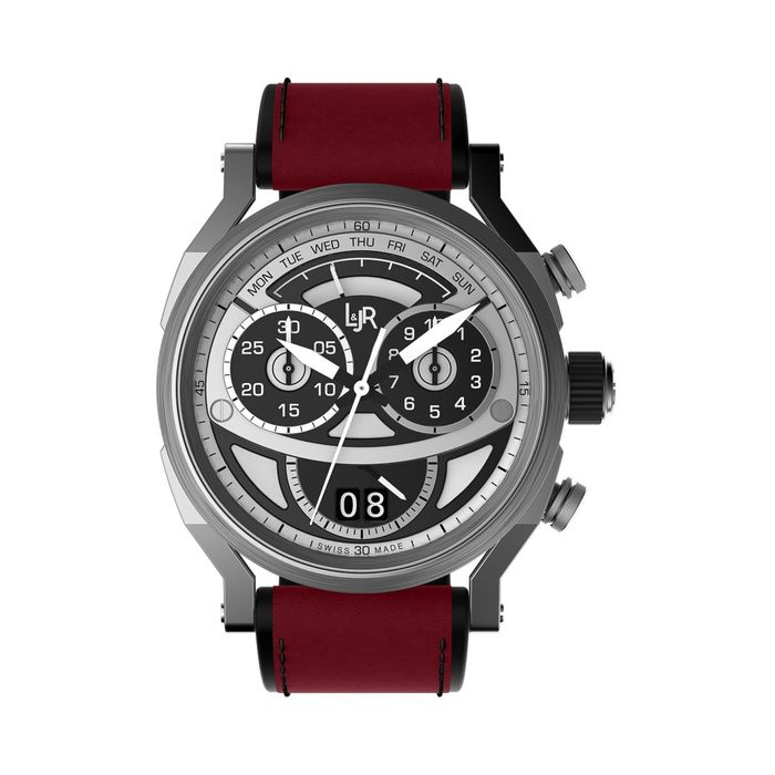 L&JR - Chronograph Day and Date Steel  2 Tone Burgundy Red - S1503-S12 - Uomo - 2011-presente