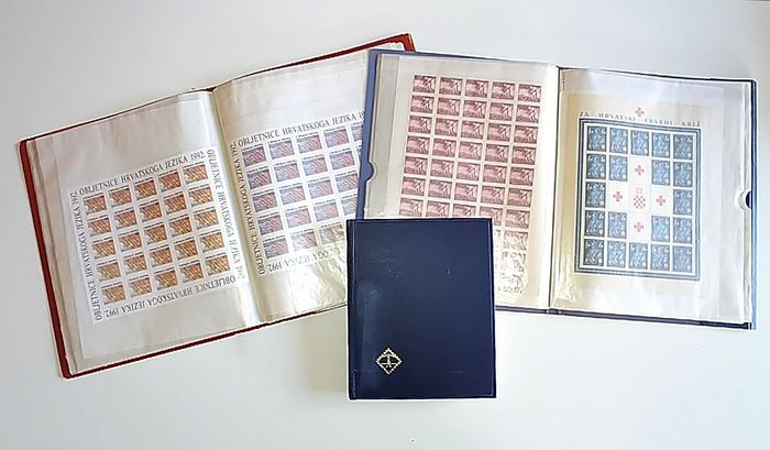 Kroatië - Wide selection of single pieces and blocks of 2 and 4 with souvenir sheets and 52 full sheets
