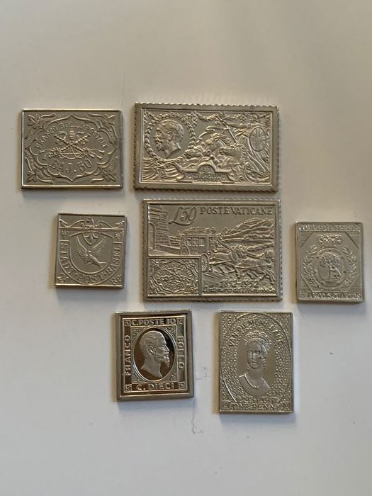 Mondo - lot of stamps in silver