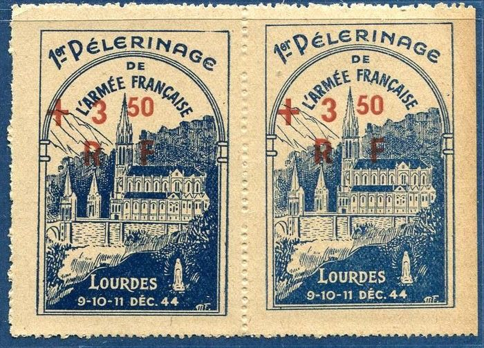Francia - Liberation of Lourdes light blue variety attached to dark, listed in Mayer 2021, RARE. - mayer