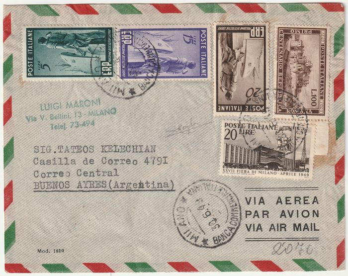 Italiaanse republiek 1949 - Romana 100 l. + ERP Complete Set + 20 c. Twin on aerogramme from Milan rare with expertise No - Sassone NN.6007603+616