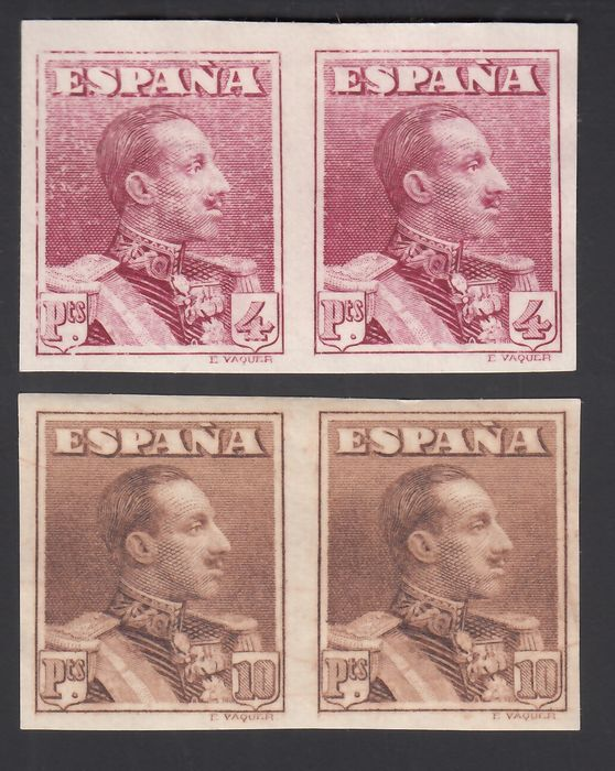 Spanje 1922/1930 - Alfonso XIII. Vaquer type, 4 pts purplish carmine, 10 pts yellowish brown. Imperforated pair. - Edifil 322s, 323s