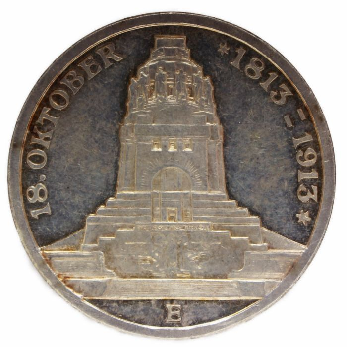 Germany, Saxe-Albertine. 3 Mark 1913 E National Battle Monument at Leipzig - Proof