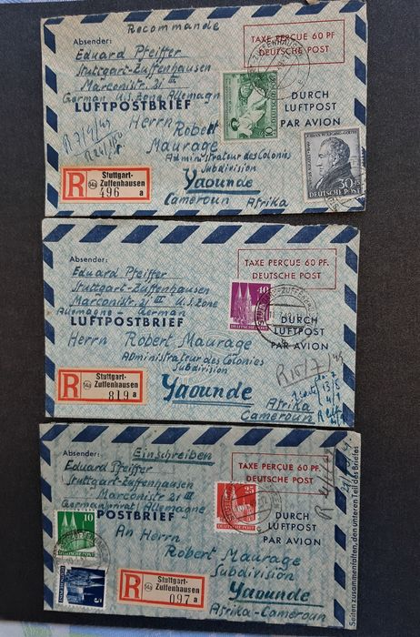 Allied Occupation - Germany 1949 - 3 letter cards sent to Cameroon