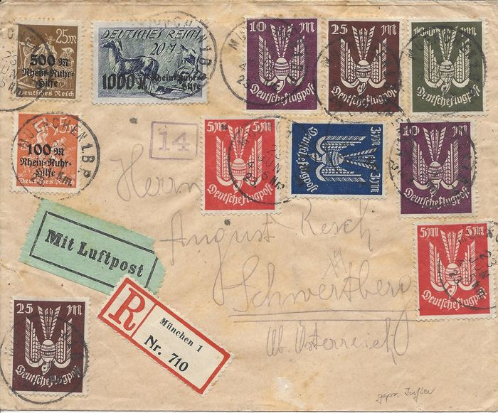 Empire allemand - Interesting airmail letter – 1923 – expertised