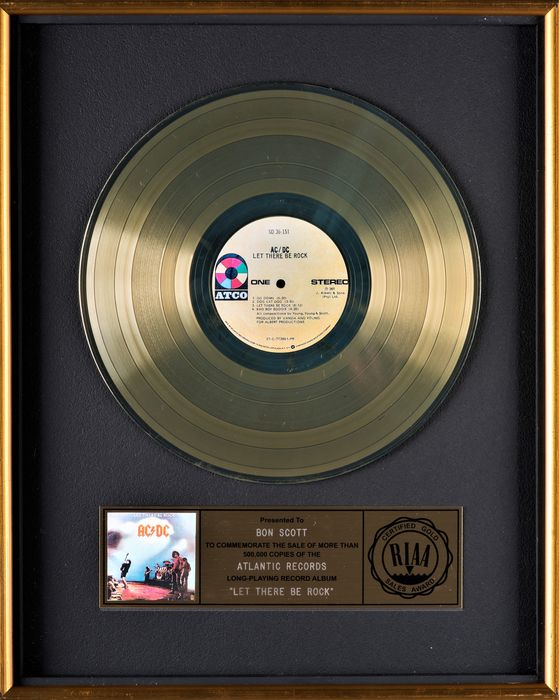 AC/DC - Let there be rock - Presented to Bon Scott - Official RIAA award - 1980/1977
