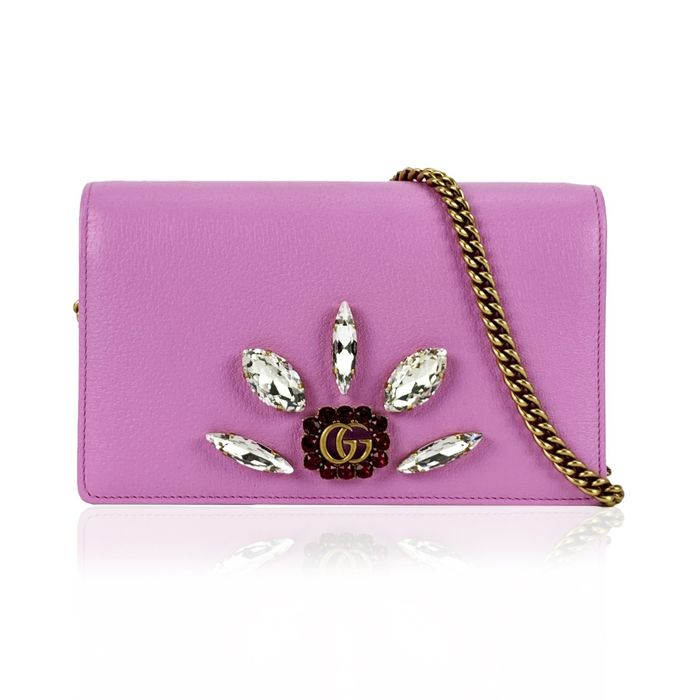 Gucci - Pink Leather Mini Double G Crystals WOC Wallet on Chain Clutch