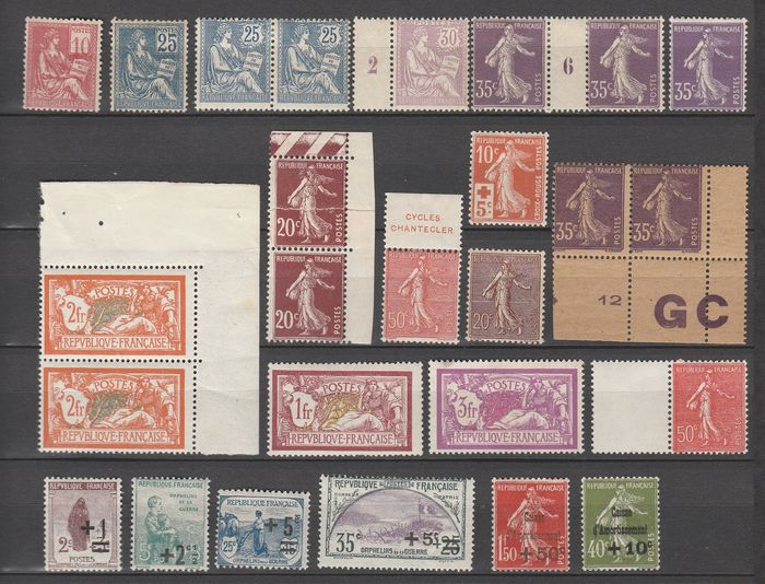 Frankreich 1900/1935 - Assortment of semi-modern stamps, with pair with vintage of No. 136. - Yvert Entre les n°112 et 308