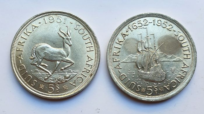 South Africa. George VI (1936-1952). 5 Shilling 1951 & 1952