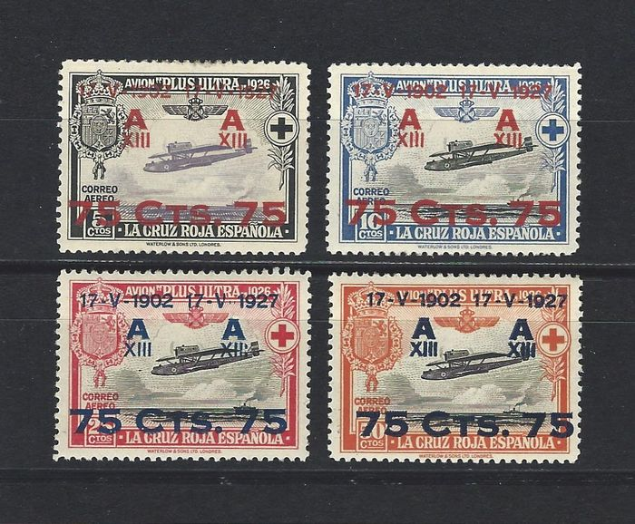 Spanje 1927 - Red Cross 3rd airmail, well centred - Edifil 388/91