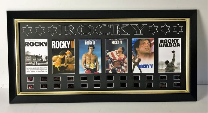 Rocky - Sylvester Stallone - Large, Framed Film Cell Display (70x30 cm) with all 6 Movies