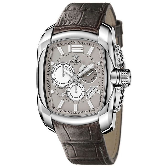 """Metal.ch - Chronograph Club Collection Grey Leather Strap - 5132.47 """"NO RESERVE PRICE"""" - Herren - 2011-heute"""