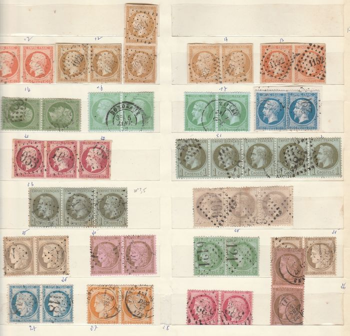 Frankrijk 1853/1873 - A set of classic Napoleon and Ceres stamps, in pairs and strips. - Yvert Entre les n°13A et 58