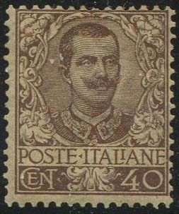 Italy Kingdom 1901 - Floral 40 cents brown. - Sassone N. 74