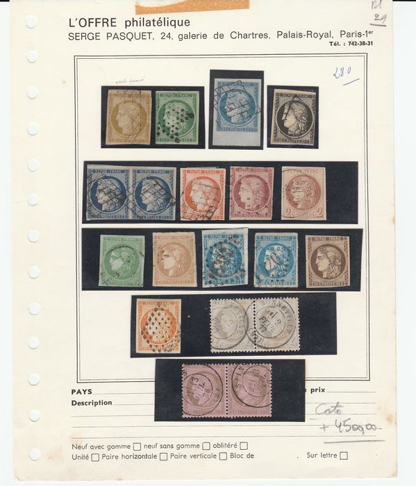France 1849/1872 - A lovely set of classic Ceres stamps, first issue, Bordeaux and Third Republic with duplicates. - Yvert Entre les n°1 et 54