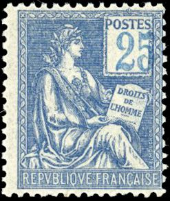 Frankreich - Modern France - 25 centimes  blue, very shifted digits. Very fine. Behr certificate. - Yvert 114a