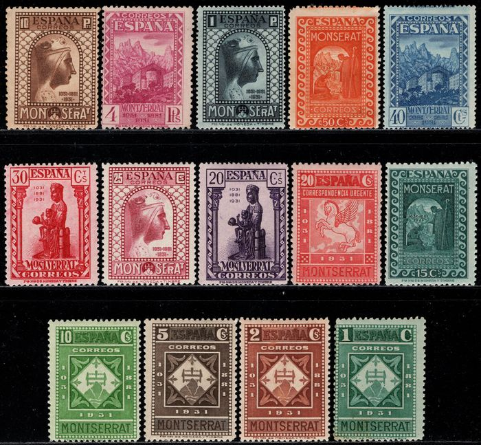 Spanien 1931 - Complete set. 9th centennial of the Foundation of the Monastery of Montserrat - Edifil 636/649