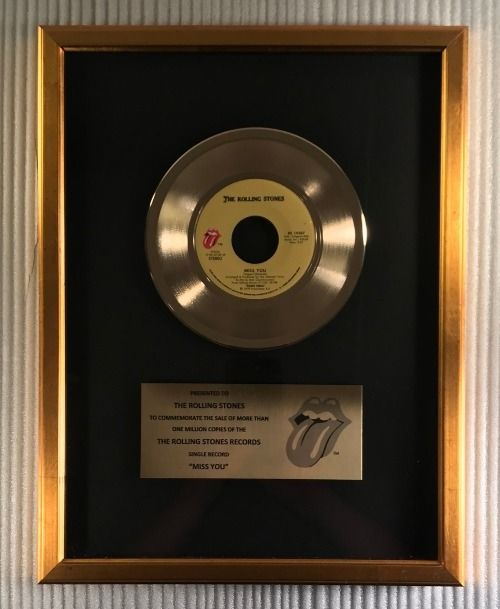 """Rolling Stones - """"Miss You"""" 45 RPM Gold Record Award - Official award - 1979/1979"""