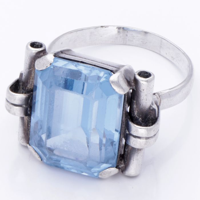 Art Deco - 835 Silber - Ring - 18.17 ct Spinell