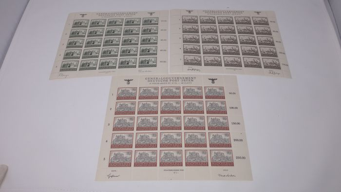 """Duitse Rijk 1944 - """"Generalgouvernement"""" (German-administered part of Poland during WW II) definitive """"Buildings"""" - Michel 113-115-116**MNH"""