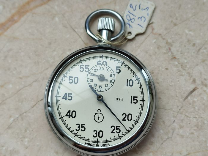 """Stopwatch """"AGAT-4282"""", mechanical single-shooter, simple action - FULL SET - Made in USSR 1988's. - Agat Stopwatch - Staal"""