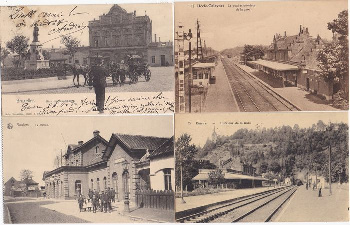 Belgium - STATIONS - Uccle-Calevoet -Esneux - Roulers - Bruxelles - Furnes - Soubrodt - Huy - - Postcards (Collection of 65) - 1900-1960