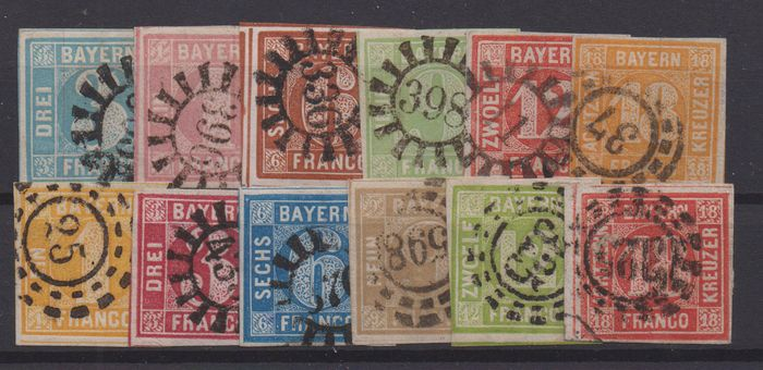 Beieren 1850/1862 - Square issues in good quality - Michel 2-13