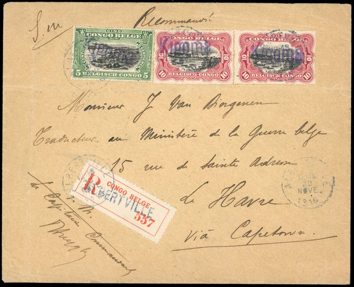"""Belgisch-Kongo 1915 - 5 centimes green and 10 centime red, hand struct """"Kigoma"""" - date stamp of 20 November 1916 - - OBP / COB 64/65"""
