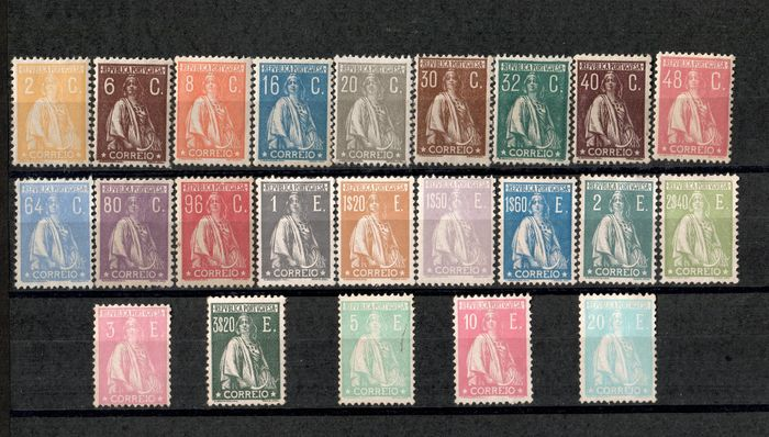 """Portugal 1924/1926 - Complete series """"Ceres"""" new taxes and colours. - Mundifil Nº 276 a 298"""