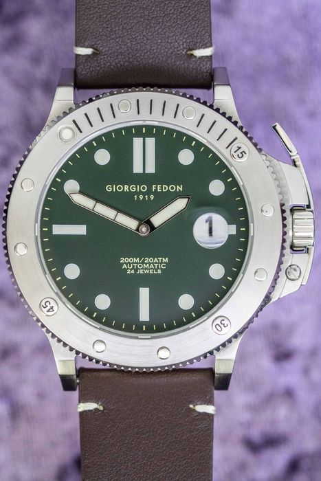 """Giorgio Fedon - Automatic Aquamarine Stainless Steel Green Dial Brown Leather Strap - GFCL003 """" NO RESERVE PRICE """" - Herre - 2011-nå"""