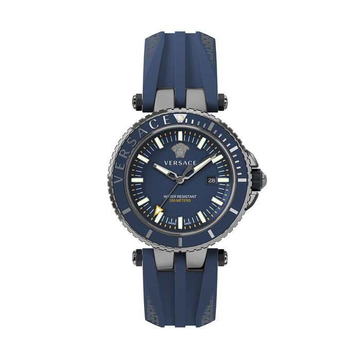 Versace - V-Race Diver Watch Black PVD Blue Silicone Strap - VEAK00218 - 男士 - 2011至今