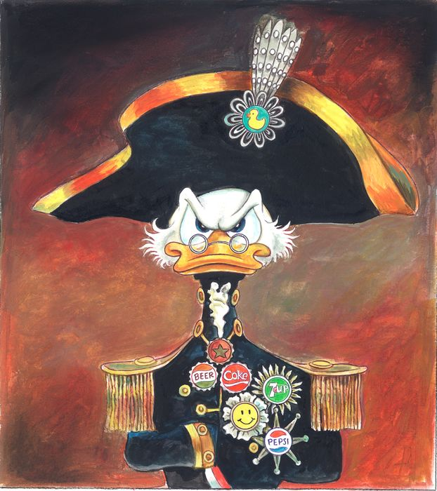 Scrooge McDuck Inspired By Lord Nelson - Original Painting - Tony Fernandez - 50 x 35 cm