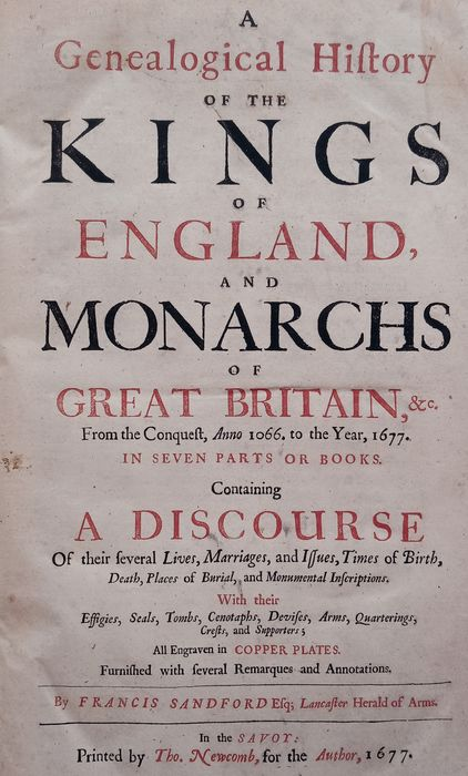 Wenceslaus Hollar & Francis Sandford - History of the Kings of England - 1677