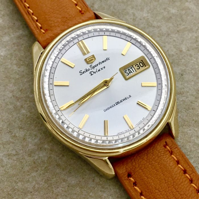 """Seiko - """"NO RESERVE PRICE"""" 5 Sportsmatic Deluxe Dolphin - Fluted Inner Bezel ''Fully Serviced'' - 7619-7010 - Uomo - 1960-1969"""