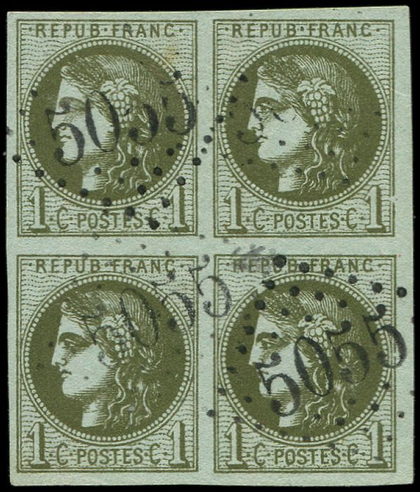 Frankreich 1871 - 1 centime olive. R III. block of 4, cancelled. GC 5055 of PHILIPPEVILLE. Rare and superb - Yvert 39C