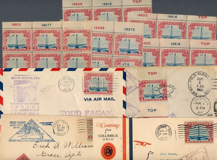 États-Unis 1928 - Special Lot of Scott# C11 with 4 cover and 19 stamps - Scott C11