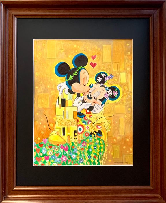 """Mickey & Minnie Mouse inspired by Gustav Klimt's """"The Kiss"""" - Original Painting - Tony Fernandez Signed - Framed"""