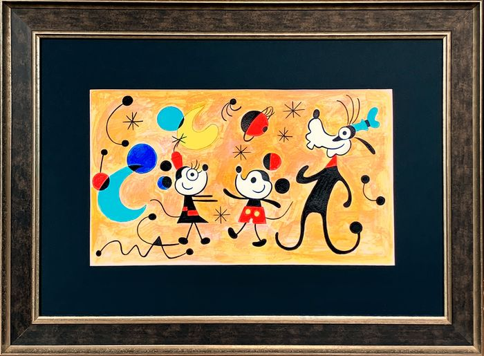 """Mickey, Minnie & Goofy inspired by Joan Miró """"Constellations in Love with a Woman"""" - Original Painting - Tony Fernandez Signed - Framed"""