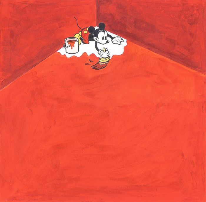 Mickey Mouse, Cool Red Room - Original Painting - Tony Fernandez