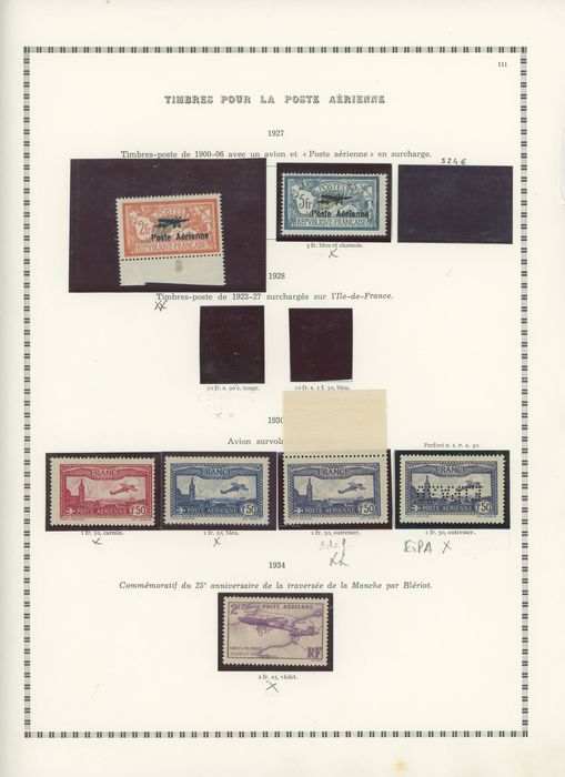 Frankrijk 1927/2000 - A beautiful extensive collection of airmail stamps with 1/2, EIPA, No. 14-15 - Value estimate: over - Yvert Entre les n°1 et 64