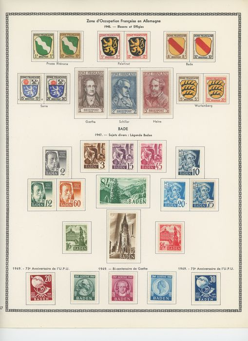 Frankrijk 1945/1949 - French occupation in Germany, complete sets from Baden, Württemberg, Rheinland, postage and souvenir - Yvert