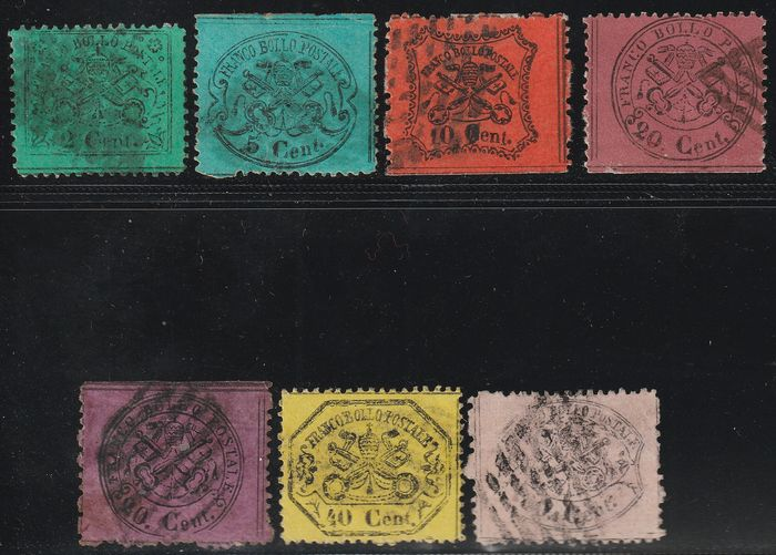 Italian Ancient States - Papal State 1868 - 3rd issue, set of 7 values, used and rare, with expertise - Sassone NN.22+25/30