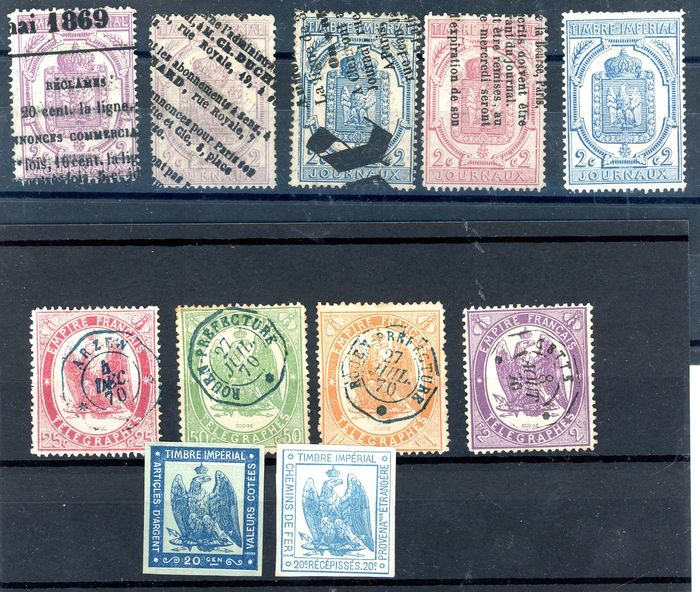 Frankrijk - Telegraph stamps, for newspapers and rare tax stamps