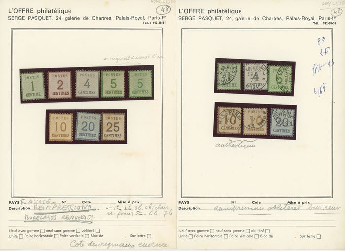 Frankrijk 1885 - Set of antique stamps from Alsace-Lorraine, Hamburg reprints, mint and cancelled. - Yvert