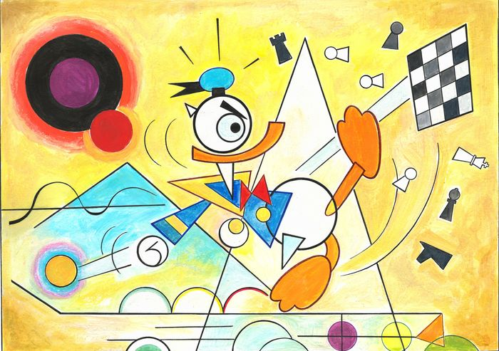 Donald Duck inspired by Wassily Kandinsky - Large Painting - Tony Fernandez Signed - Original Artwork - 70 x 50 cm