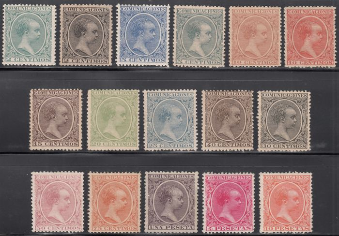Spanje 1889/1901 - Alfonso XIII. Pelón type, full set of 16 values. Well centred - Edifil 213 / 228
