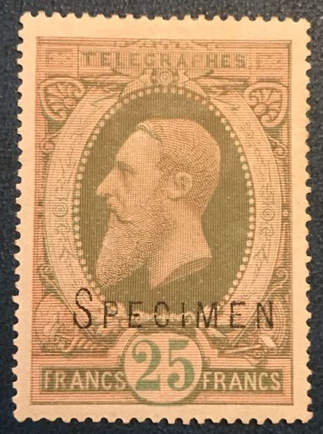 Belgique 1889 - Telegraph: 25 Fr first issue with 'specimen' - Inspected - OBP / COB TG10A