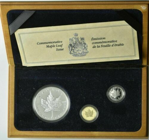 Canada. 5 Dollars 1989 Proof 'Commemorative Maple Leaf Issue' (3 pieces) in set