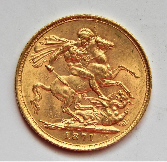 Royaume-Uni. Sovereign 1871 Victoria (1837-1901) St. George slaying the dragon