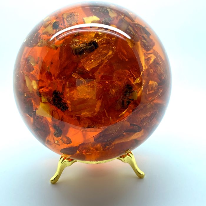Amber Sphere with bee inclusion - 94×94×94 mm - 547.4 g - (1)